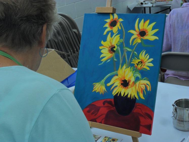 Nancy working with oils