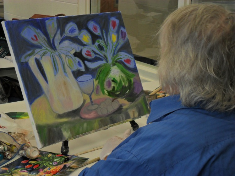 Donna working in oil