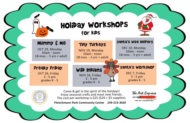 holiday workshops flier 2018