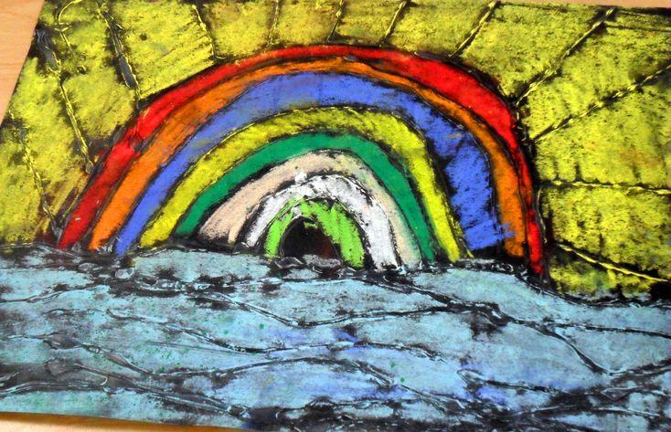 Ted Harrison Landscape glue resist & soft pastels